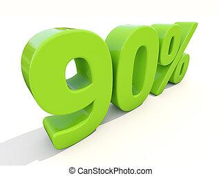 90%, porcentagem, taxa, ícone, branca, fundo