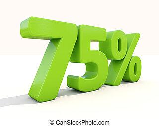 75%, porcentagem, taxa, ícone, branca, fundo