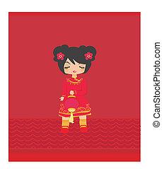 beautiful Asian girl with lantern