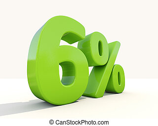 6% percentage rate icon on a white background - Six percent...
