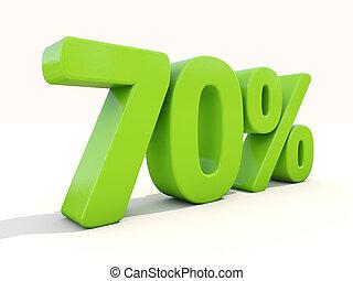 70%, porcentagem, taxa, ícone, branca, fundo
