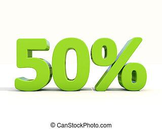 50%, porcentagem, taxa, ícone, branca, fundo