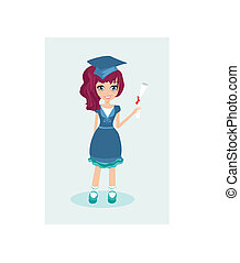 Illustration of a little girl Holding Her Diploma