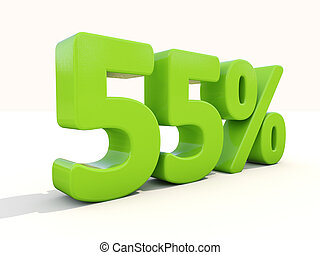 55% percentage rate icon on a white background - Fifty five...