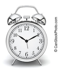 Alarm clock 3d illustration on white background