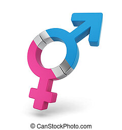 Male and female symbols as a magnets attached to each other....