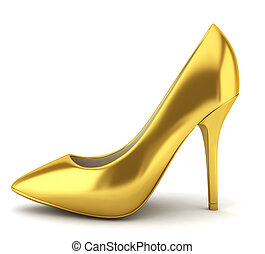 High heel golden shoe 3d illustration on white background