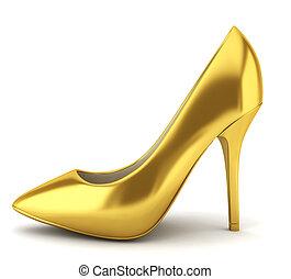 alto, calcanhar, dourado, sapato