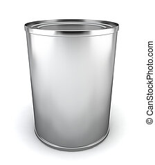 Blank tincan 3d illustration on white background