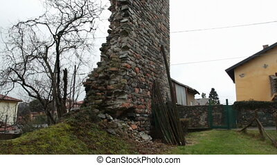 Pezza Tower - medieval tower in ruin in Induno Olona, Italy