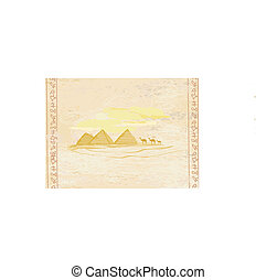 old paper with pyramids giza and camel silhouette on desert...