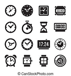 Clocks Icons Set on White Background Vector