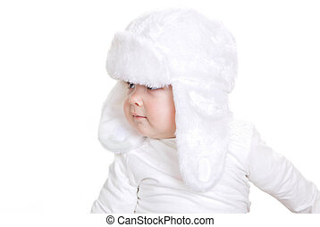 toddler in white fur winter hat