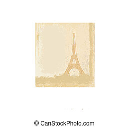 vintage retro Eiffel card