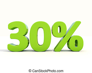 30% percentage rate icon on a white background - Thirty...