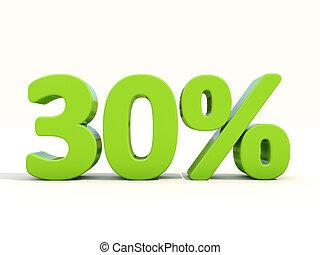 30%, porcentagem, taxa, ícone, branca, fundo