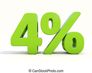 4% percentage rate icon on a white background - Four percent...