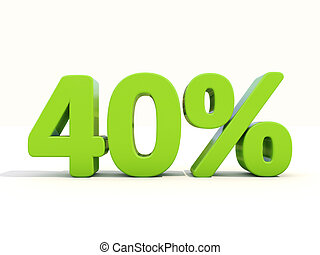 40% percentage rate icon on a white background - Forty...