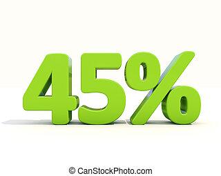 45%, porcentagem, taxa, ícone, branca, fundo