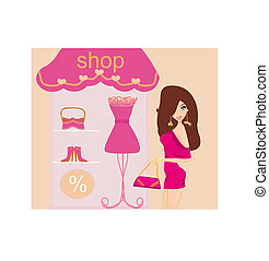 fashion girl Shopping - fashion girl on Shopping