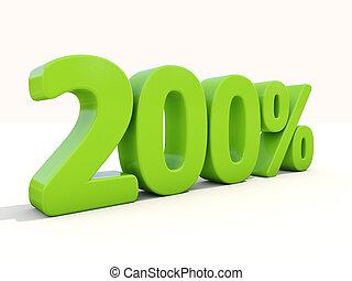 200%, porcentagem, taxa, ícone, branca, fundo