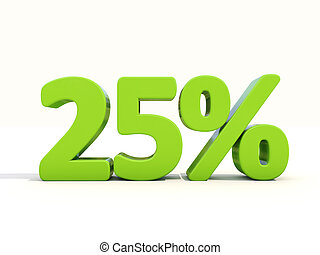 25% percentage rate icon on a white background - Twenty five...