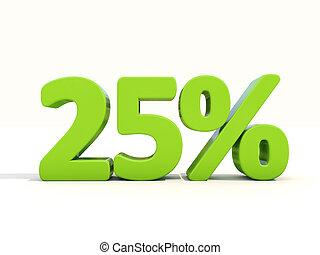 25%, porcentagem, taxa, ícone, branca, fundo