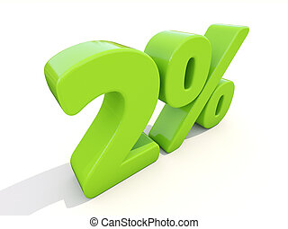 2% percentage rate icon on a white background - Two percent...