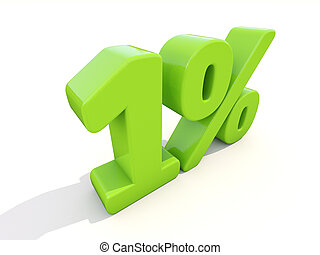 1% percentage rate icon on a white background - One percent...