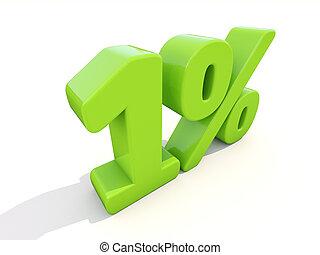 1%, porcentagem, taxa, ícone, branca, fundo