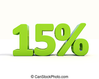 15% percentage rate icon on a white background - Fifteen...
