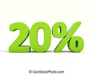 20% percentage rate icon on a white background - Twenty...