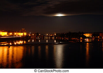 Prague at midnight - Prague in the night with a full moon...