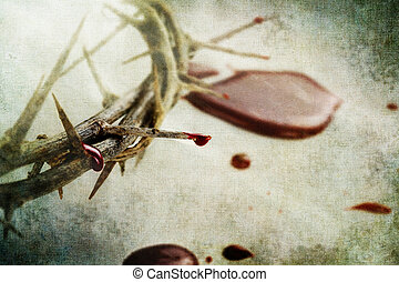 Blood and Thorns - Crown of thorns with drops of blood over...