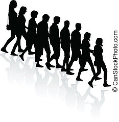 crowd of people - vector silhouettes