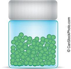 glass jar with peas