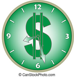 Watch with a dollar sign on the dial illustration
