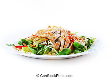 salad of fried chicken - fresh salad of fried chicken,...