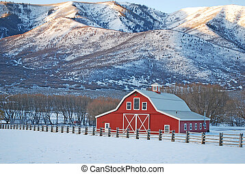 Large Red Barn at Sunrise