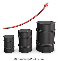 Oil Boom - Three oil barrles with red arrow on the white...