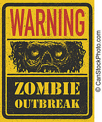 Zombie Outbreak. Hand drawn. Vector Eps8 - Poster Zombie...