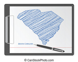 clipboard South Carolina map - Clipboard with drawing South...