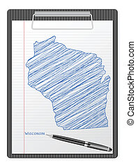 clipboard Wisconsin map - Clipboard with drawing Wisconsin...