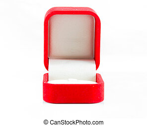 Red jewelry open box to putting ring on white background