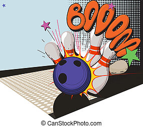 retro styled bowling game picture - Vintage picture made in...