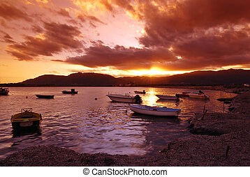 Sunset in Sardinian harbor