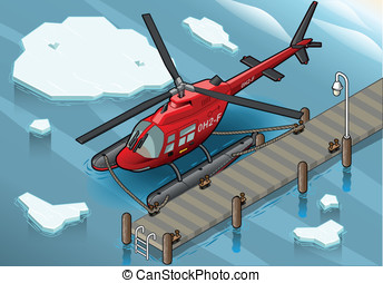Isometric Arctic Emergency Helicopter at Pier - Detailed...