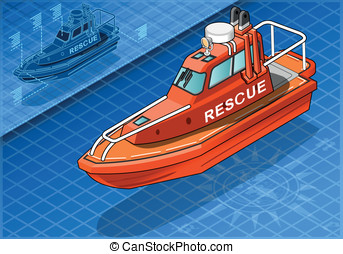 Isometric Rescue Boat Isolated in Front View