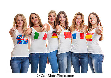 international teens with flags on t shirts