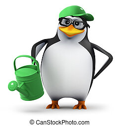 3d Penguin in green baseball cap waters his garden - 3d...